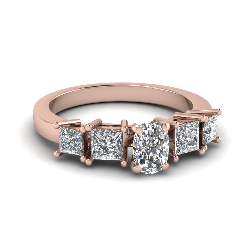 1.25 Ct. cushion and princess cut diamond engagement ring in 14K rose gold FDENR1012CUR NL RG
