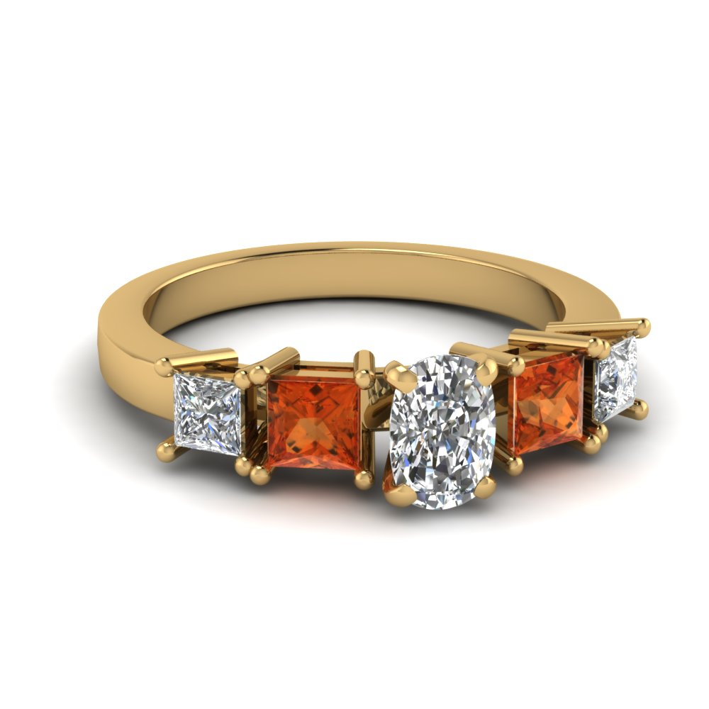 Preset Orange Sapphire Wedding Ring