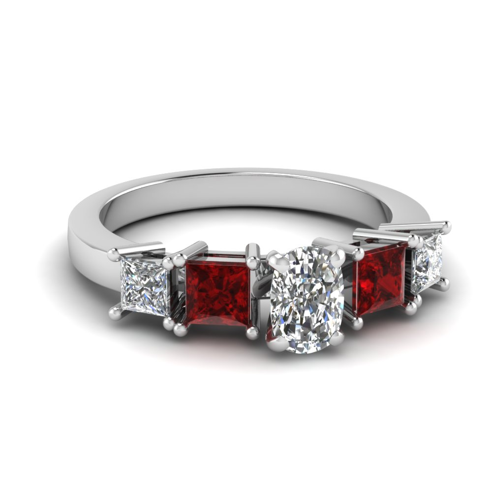 1.25 Carat White Gold Ruby Engagement Ring