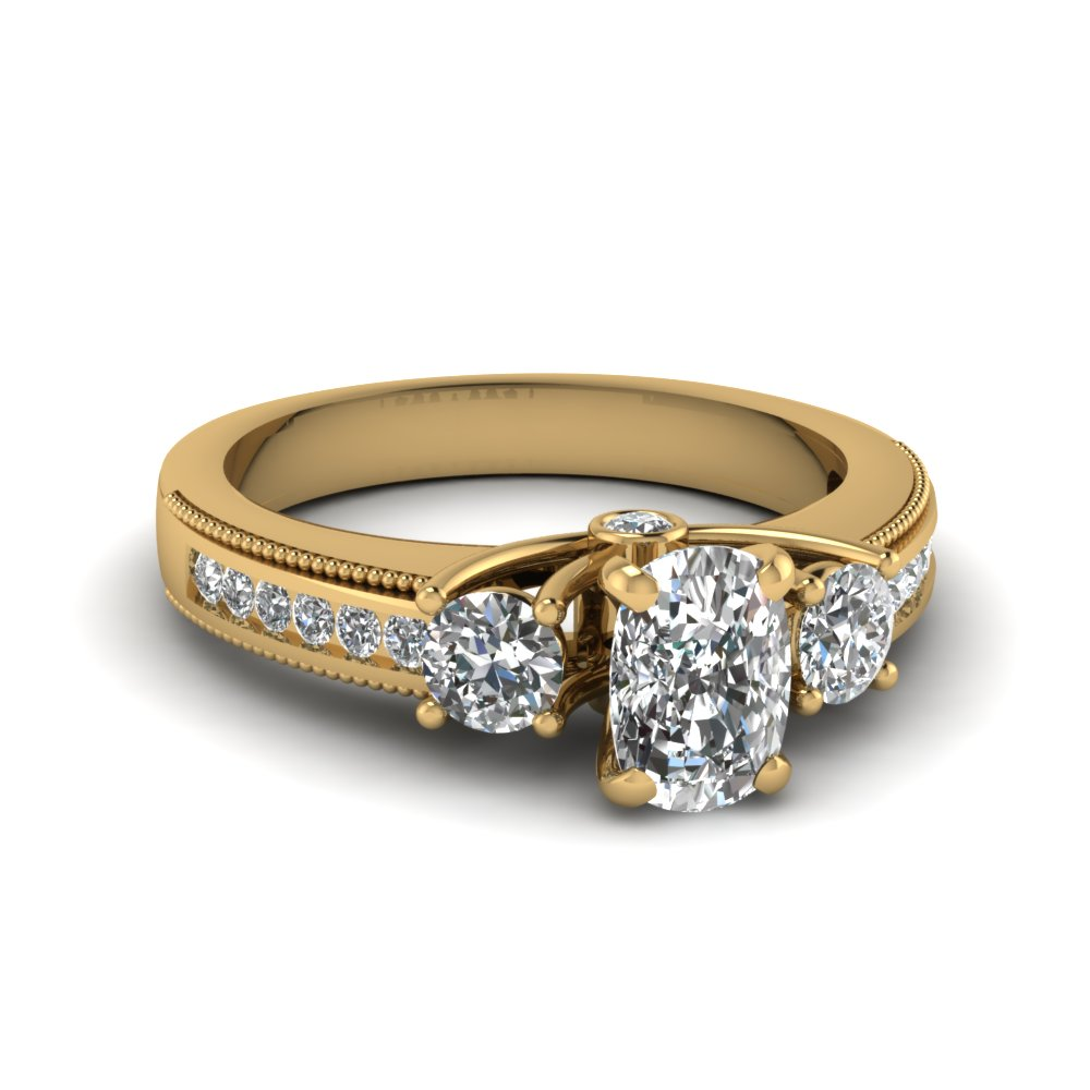 Milgrain Bordered Cushion Diamond Engagement Ring