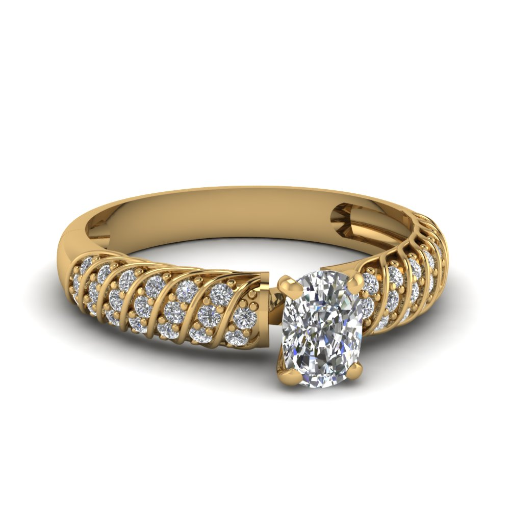 1.25 Cushion Rope Style Diamond Ring