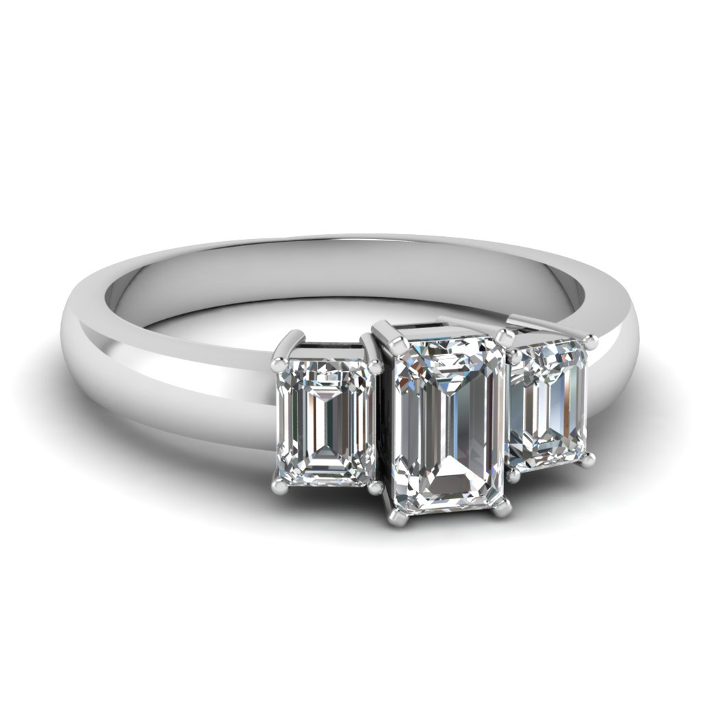 1 5 Carat 3 Stone Emerald Cut Diamond Engagement Ring In 14K White Gold