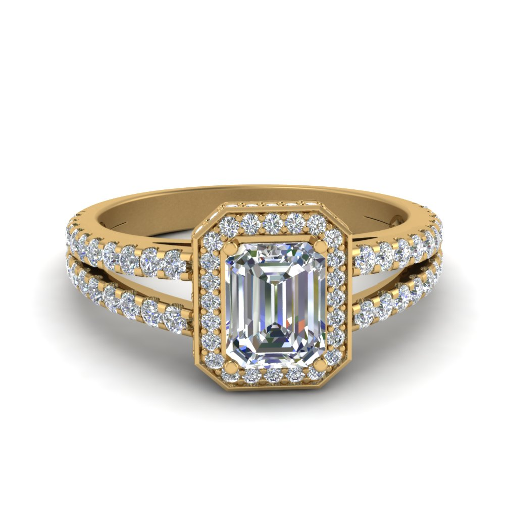 1.5 carat emerald cut halo diamond split engagement ring with in FDENR8688EMR NL YG