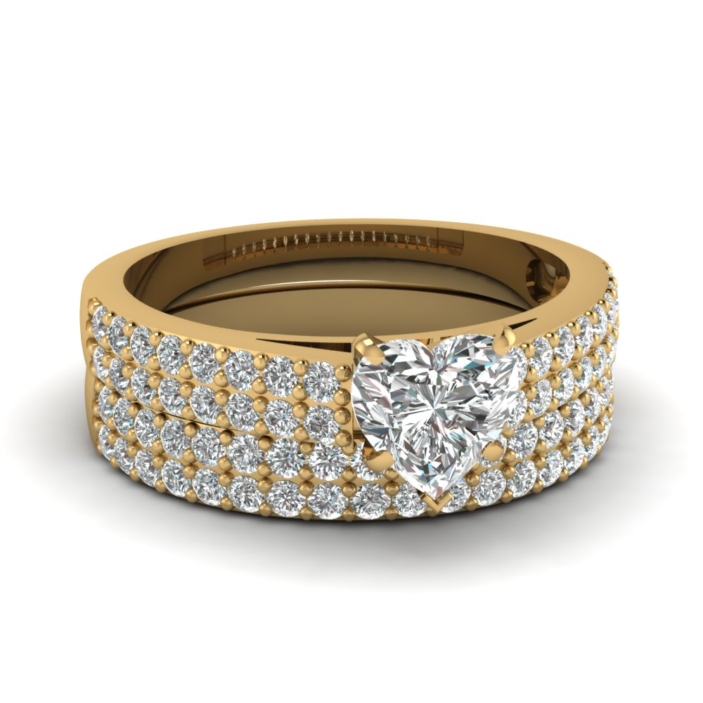 15 Carat Diamond Heart 2 Row Wedding Ring Set In 14K Yellow Gold