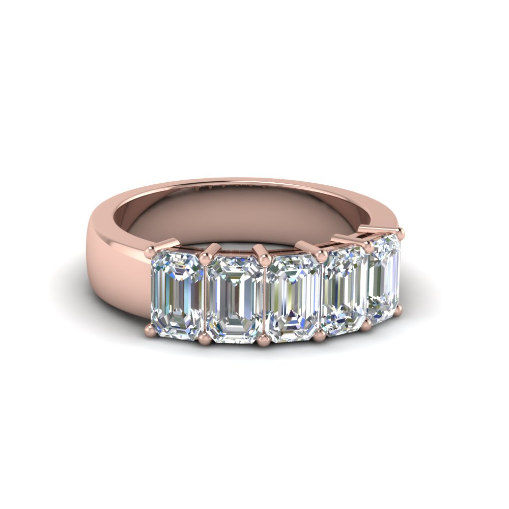 18K Rose Gold Emerald Cut Band