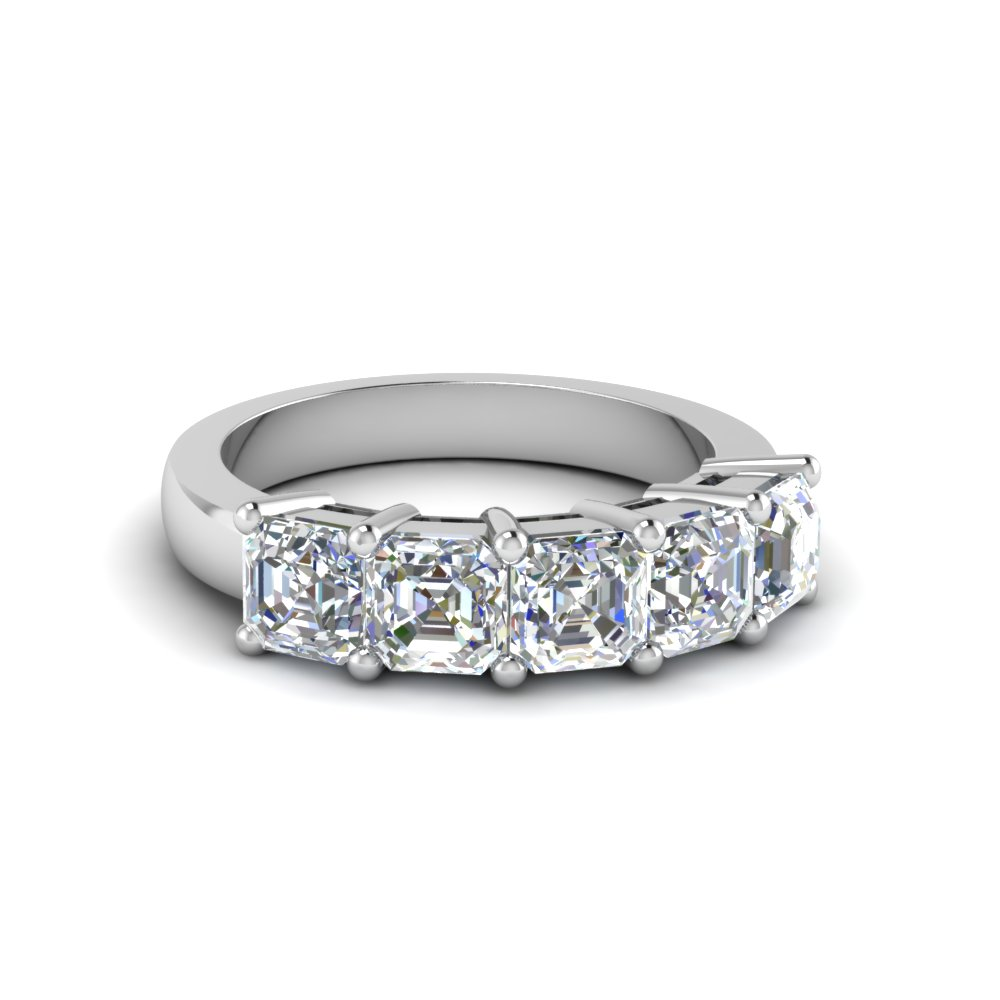 1.5 Ct. Asscher Diamond Anniversary Five Stone Ring