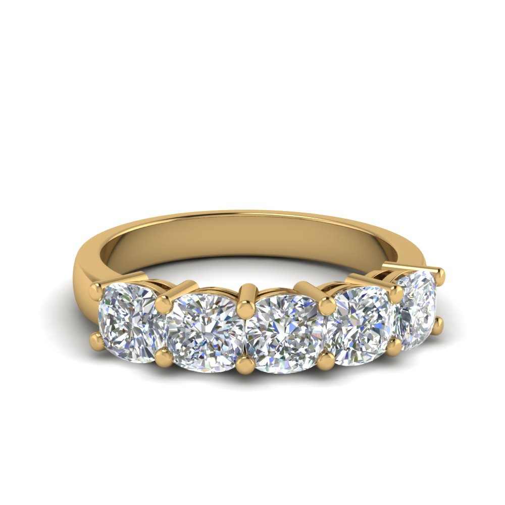 1.5 ct. diamond 5 stone anniversary ring cushion cut in 14K yellow gold FD8008CUB 1.5CT NL YG