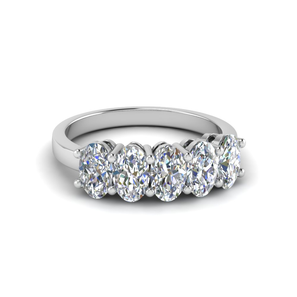 Oval Diamond Five Stone Band