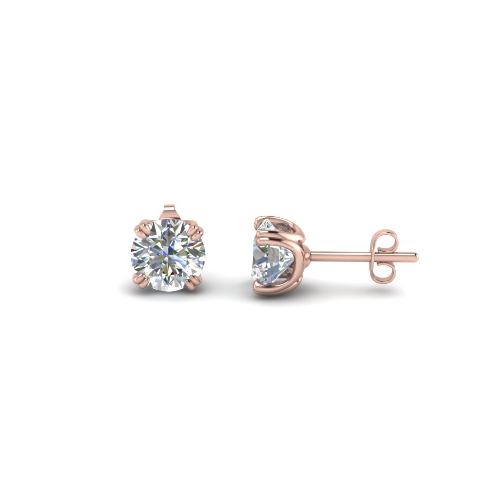 14K Rose Gold Round Cut Stud Earrings