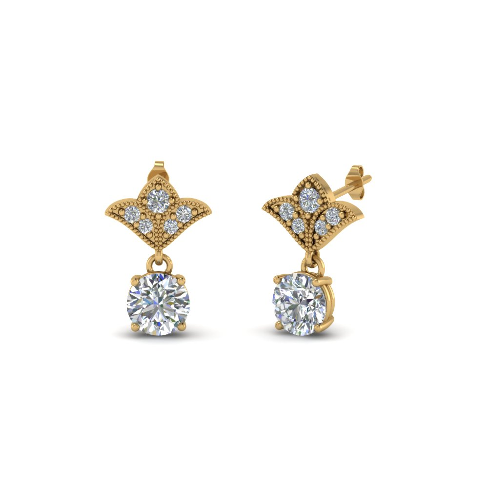 1.5 Ct. Round Vintage Look Earring
