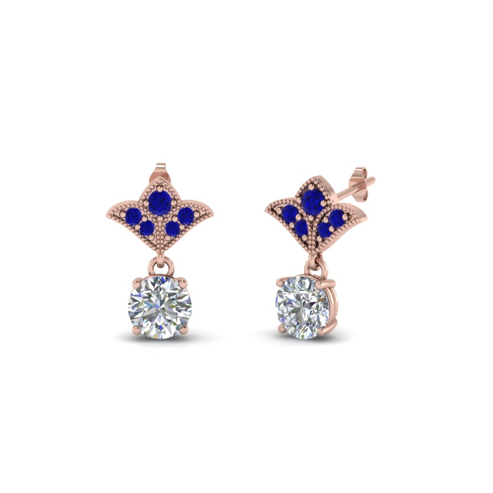 1.5 ct. round vintage look diamond earring with blue sapphire in 14K rose gold FDEAR8425 0.75CTGSABL NL RG