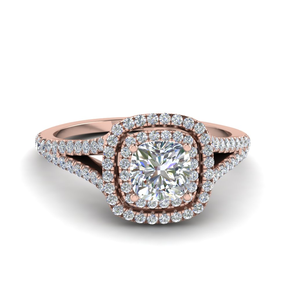 1.50 Ct. split double halo cushion diamond engagement ring in 14K rose gold FDENR9107CUR NL RG