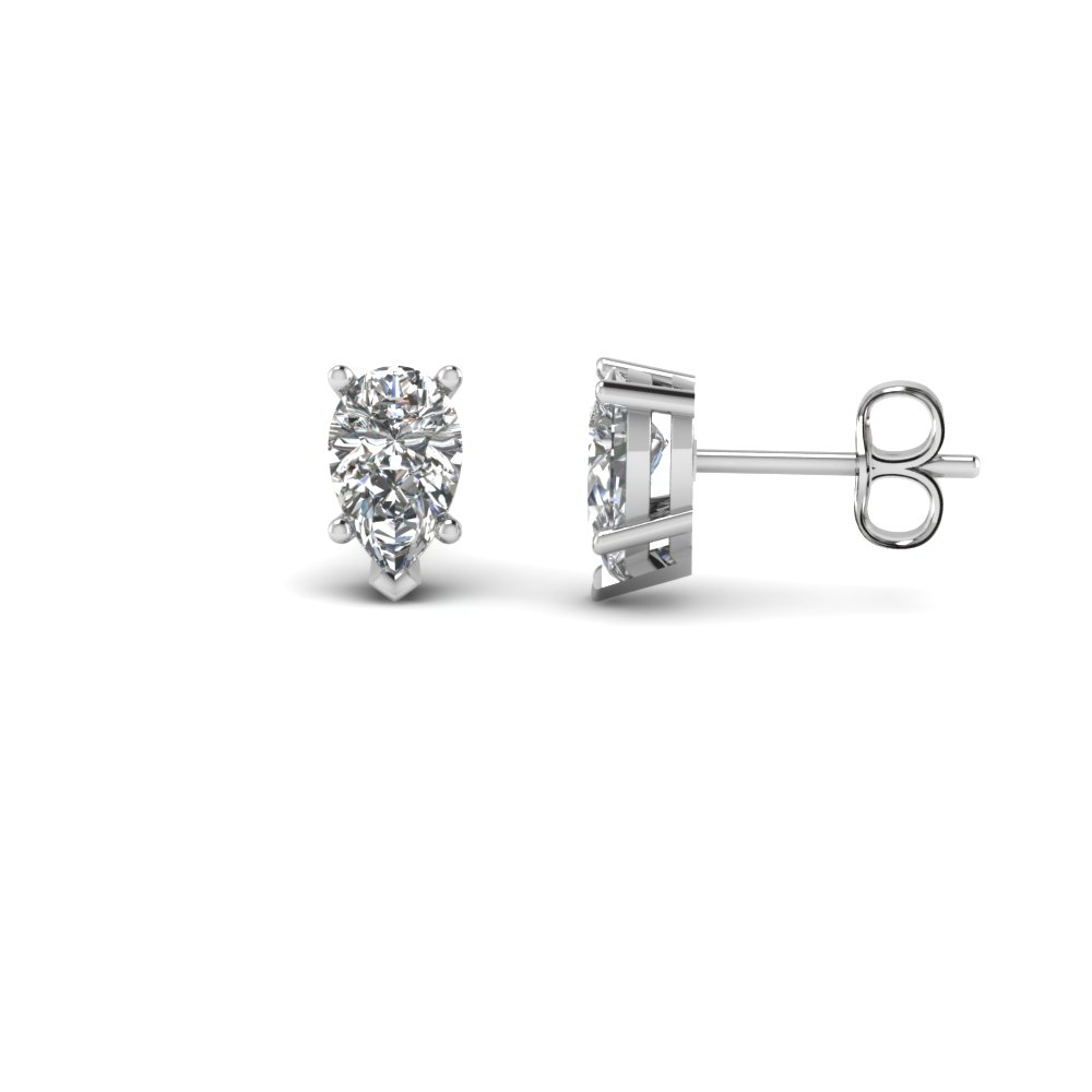 1.50 Karat Pear Shaped Diamond Stud Earring