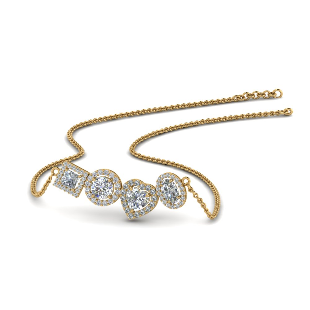 1.50 Carat Diamond Halo Necklace Pendant In 14K Yellow Gold