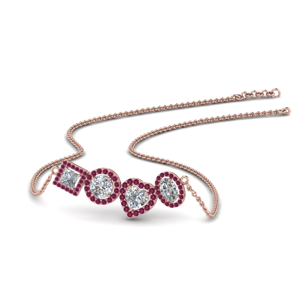 cb86ae1bdfa69 1.50 Carat diamond halo necklace pendant with pink sapphire in  FDPD8865GSADRPI NL RG