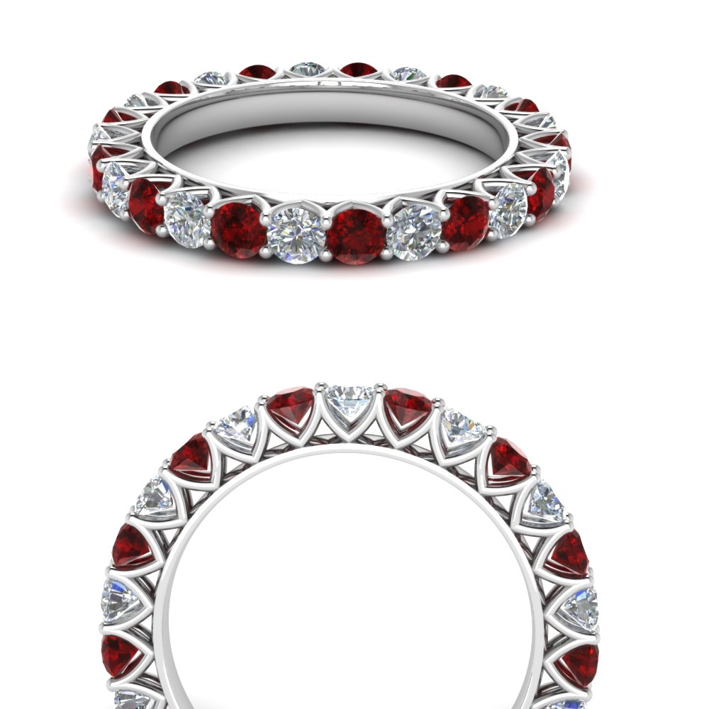 Accent Round Ruby Eternity Band