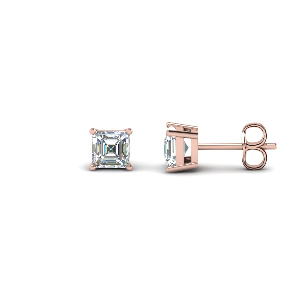 1.50 carat asscher cut diamond stud earring in FDEAR4AS0.75CT NL RG