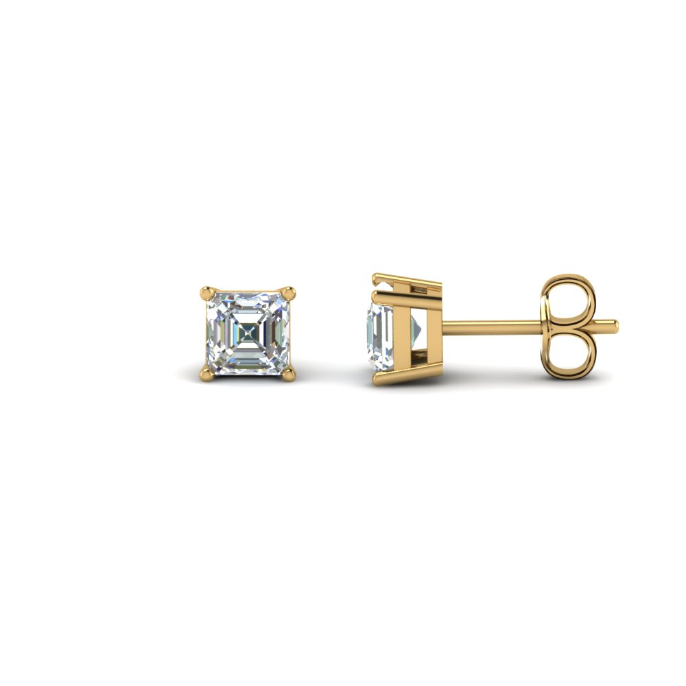 1.50 carat asscher cut diamond stud earring in FDEAR4AS0.75CT NL YG