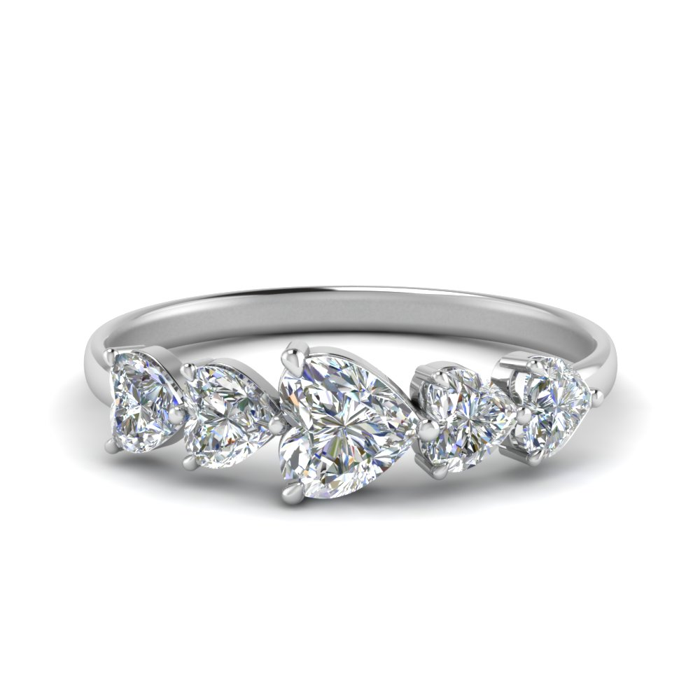 1.50 Carat 5 Stone Heart Eternity Ring
