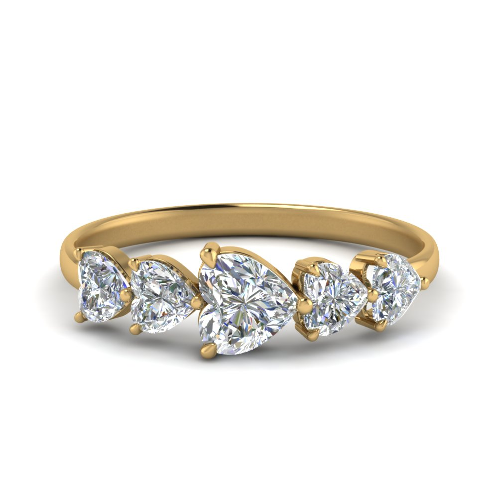 Five Stone Heart Diamond Ring
