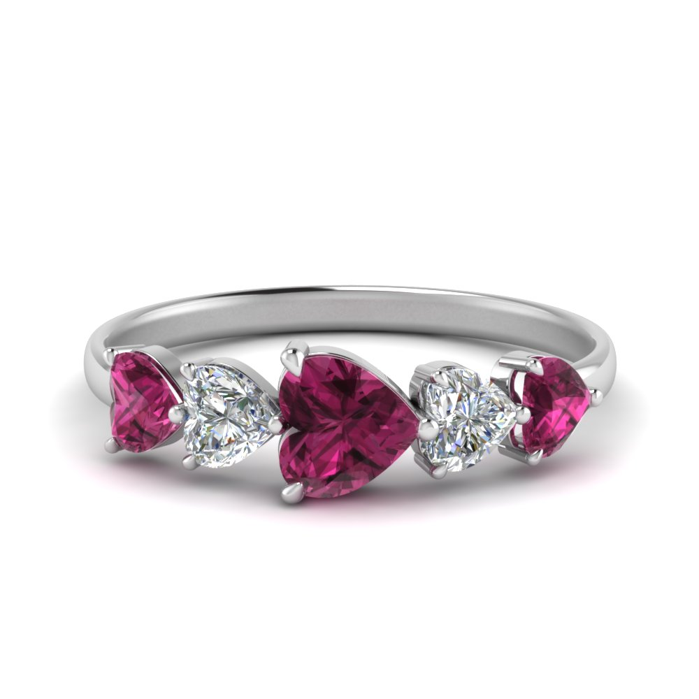 Five Stone Heart Eternity Ring