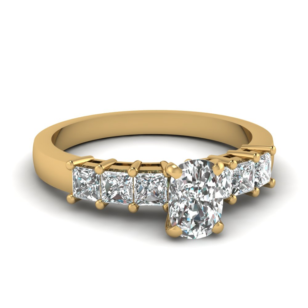 1.50 carat princess and cushion diamond 7 stone engagement ring in 14K yellow gold FDENS1027CUR NL YG