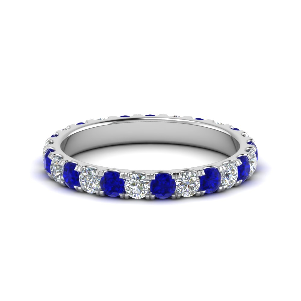 1.50 carat round diamond eternity band for women with sapphire in FDEWB8371 1.50CTBGSABL NL WG