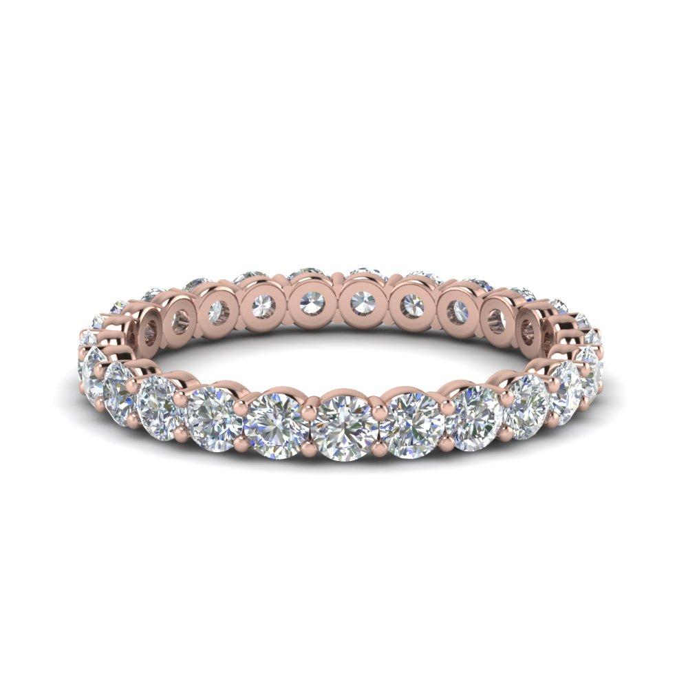 1.50 carat round eternity diamond ring for women in 18K rose gold FDEWB8387 1.50CTB NL RG