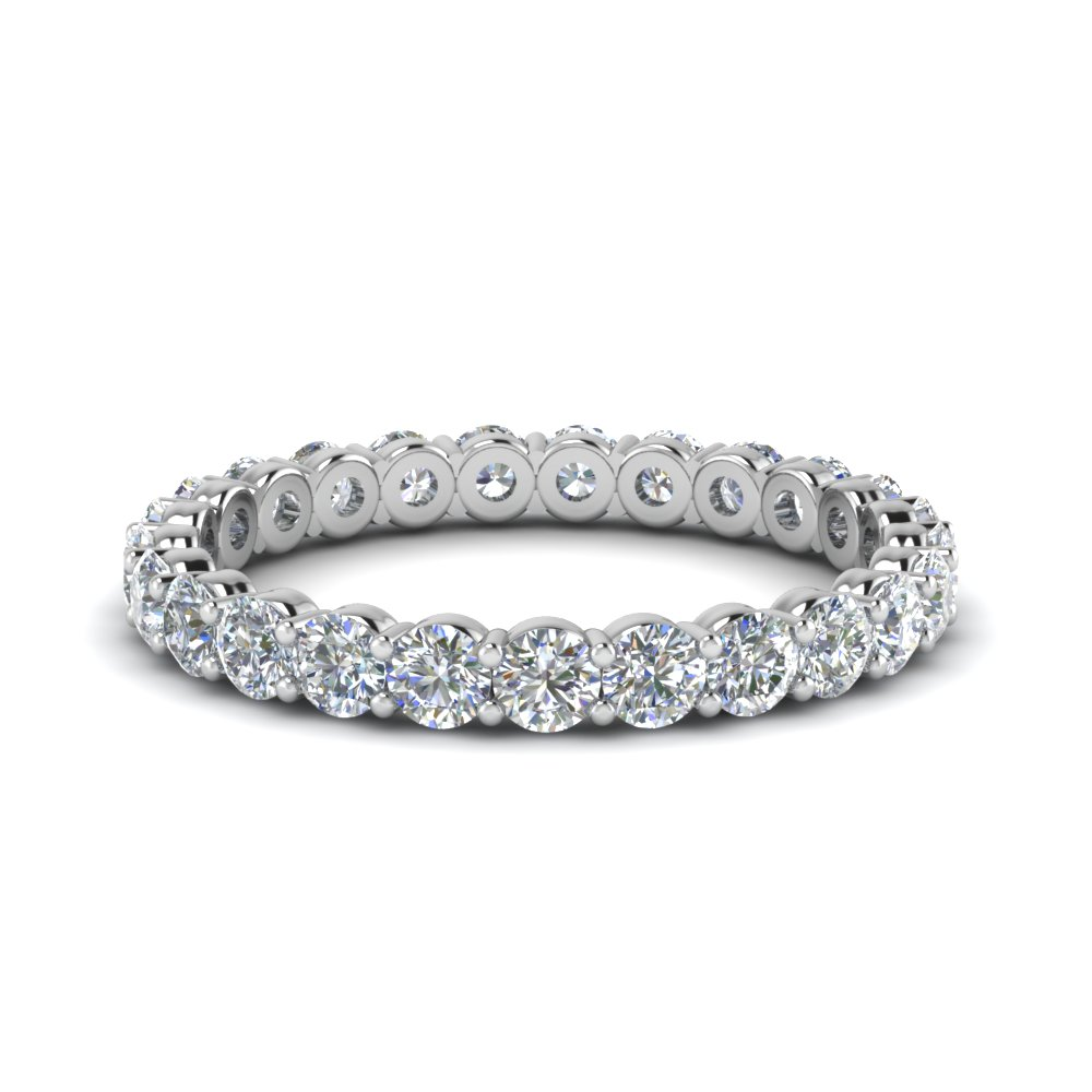 1.50 carat round eternity diamond ring for women in 950 Platinum FDEWB8387 1.50CTB NL WG