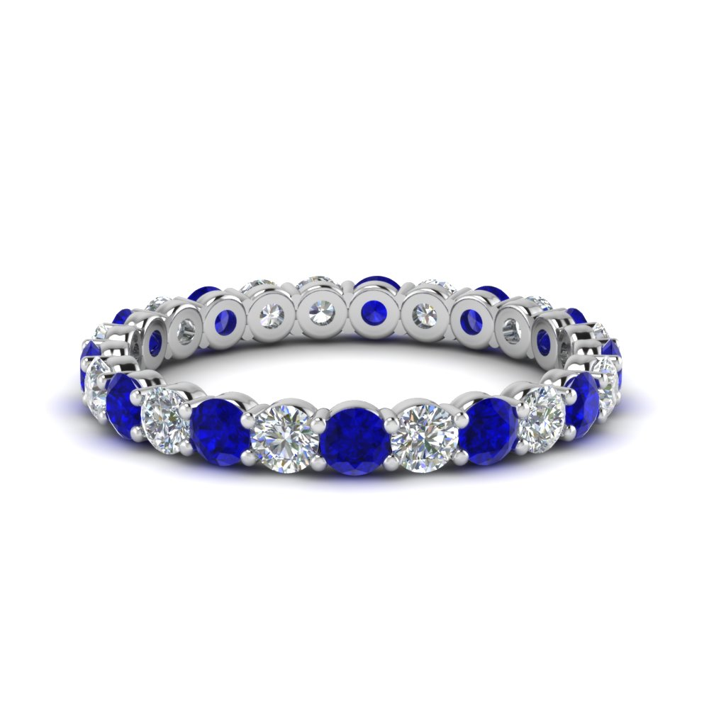 1.50 carat round eternity diamond ring for women with sapphire in 14K white gold FDEWB8387 1.50CTBGSABL NL WG
