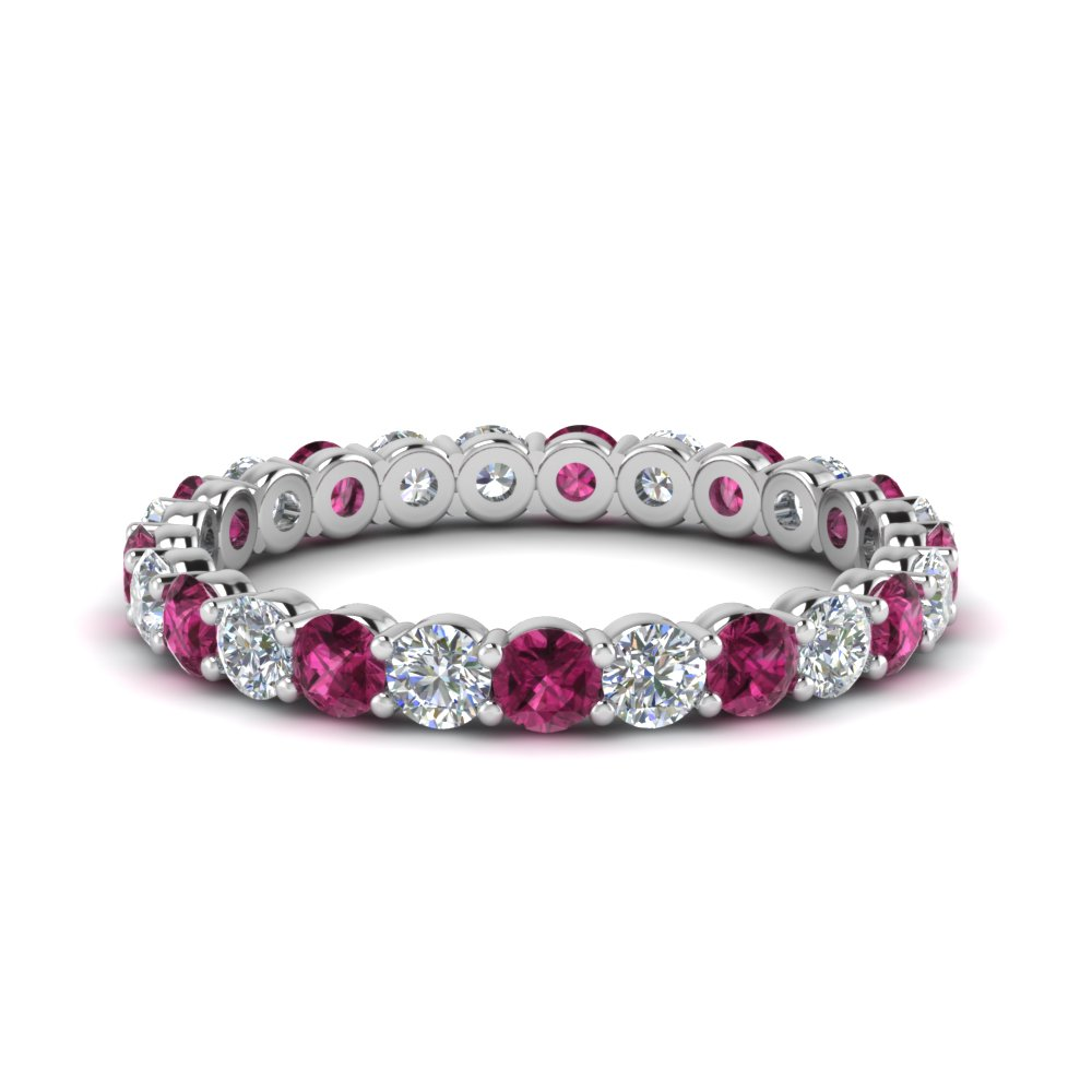 Round Cut Pink Sapphire Eternity Ring