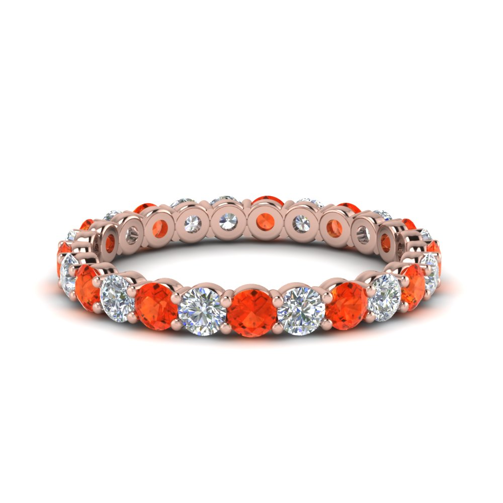 1.50 Ct. Orange Topaz Eternity Band
