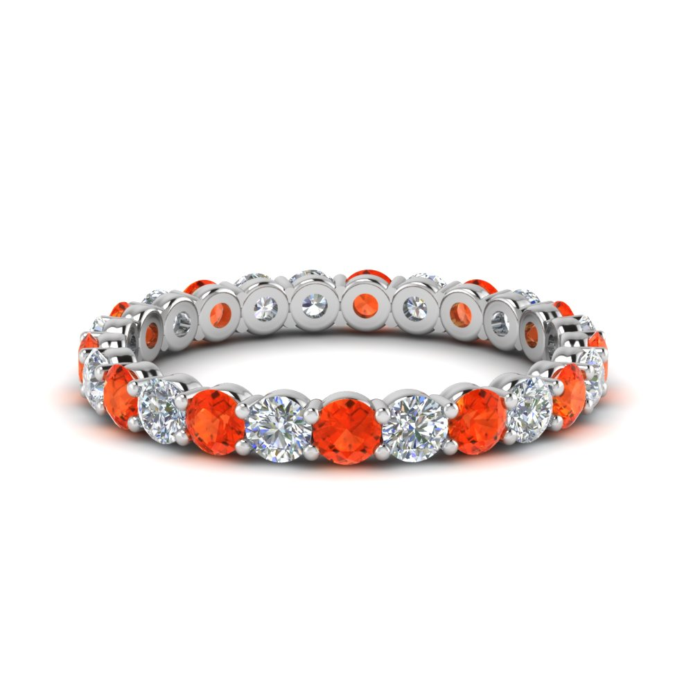 1.50 carat round eternity diamond ring for women with orange topaz in 14K white gold FDEWB8387 1.50CTBGPOTO NL WG