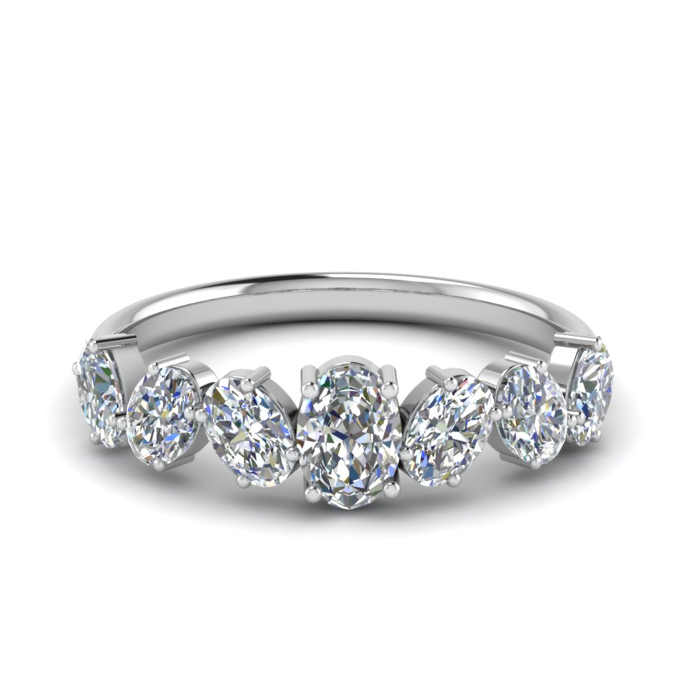1.50 Ct. Oval Shaped 7 Stone Anniversary Ring