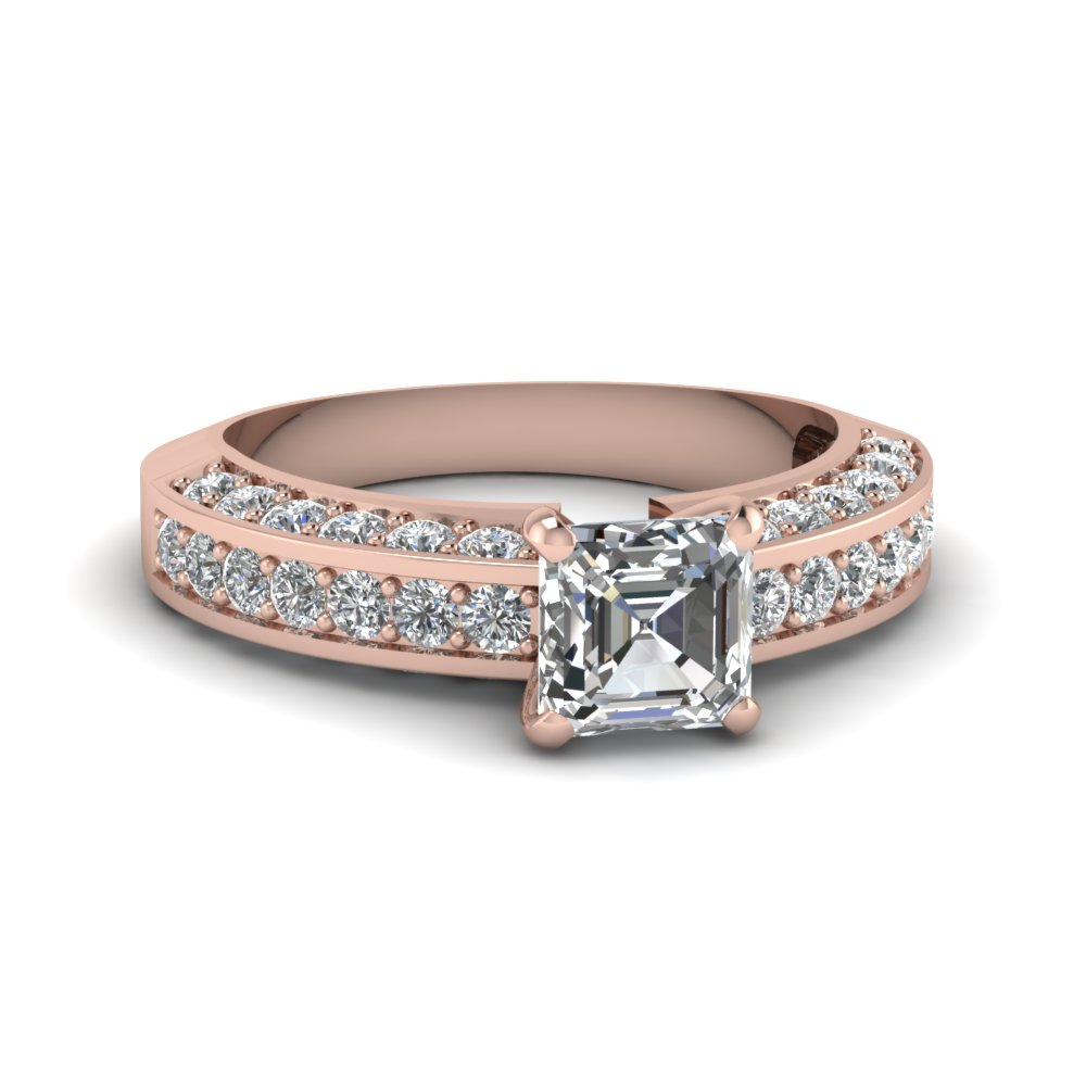 1.50 Ct. Diamond Pave Accent Asscher Cut Engagement Ring In 18K Rose Gold