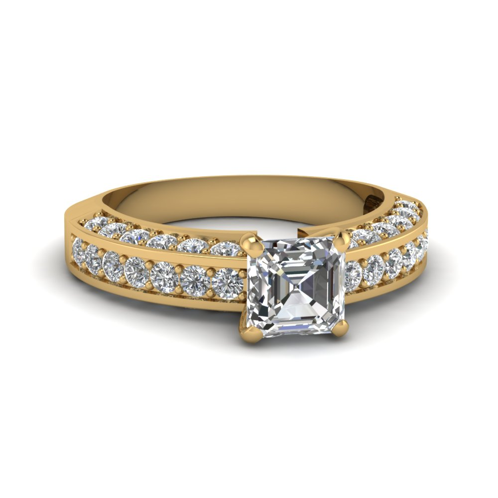 1.50 ct. diamond pave accent asscher cut engagement ring in FDENR6458ASR NL YG.jpg