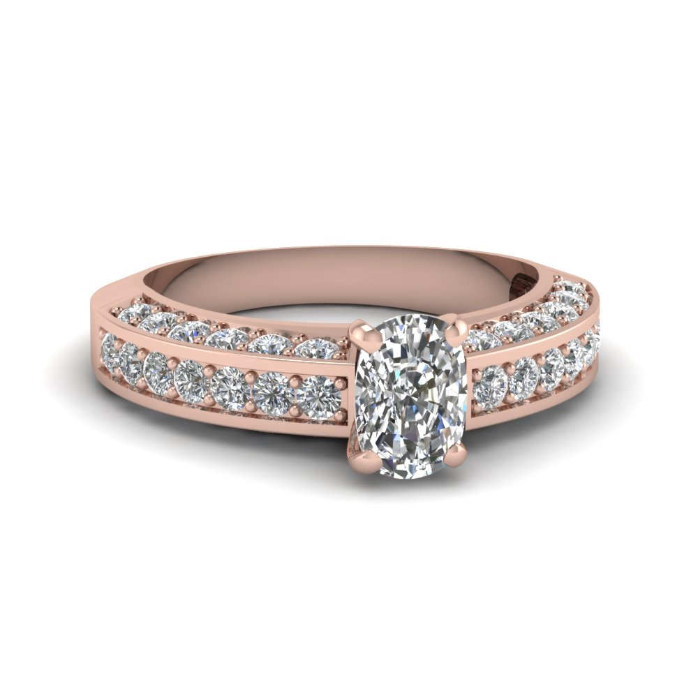 18k rose gold cushion cut vintage engagement rings
