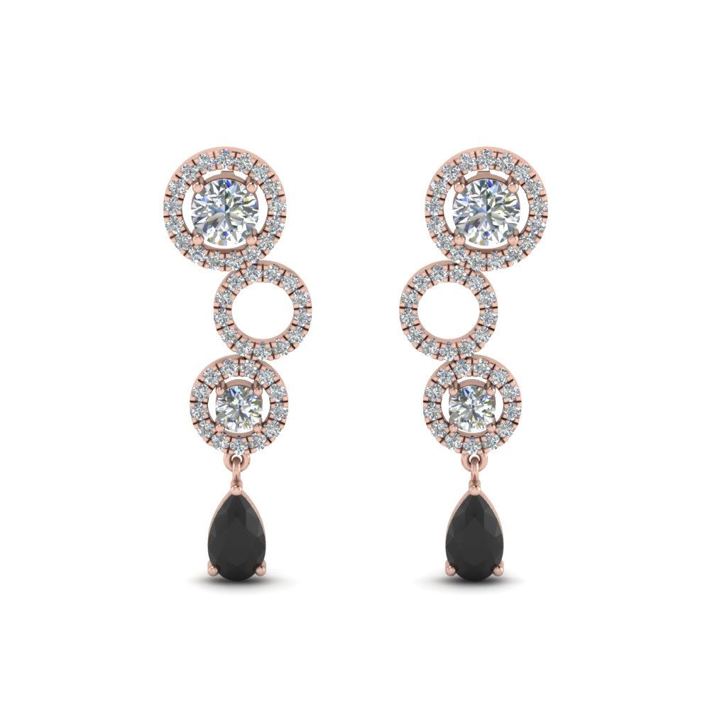 Black Diamond Circle Pear Drop Earring