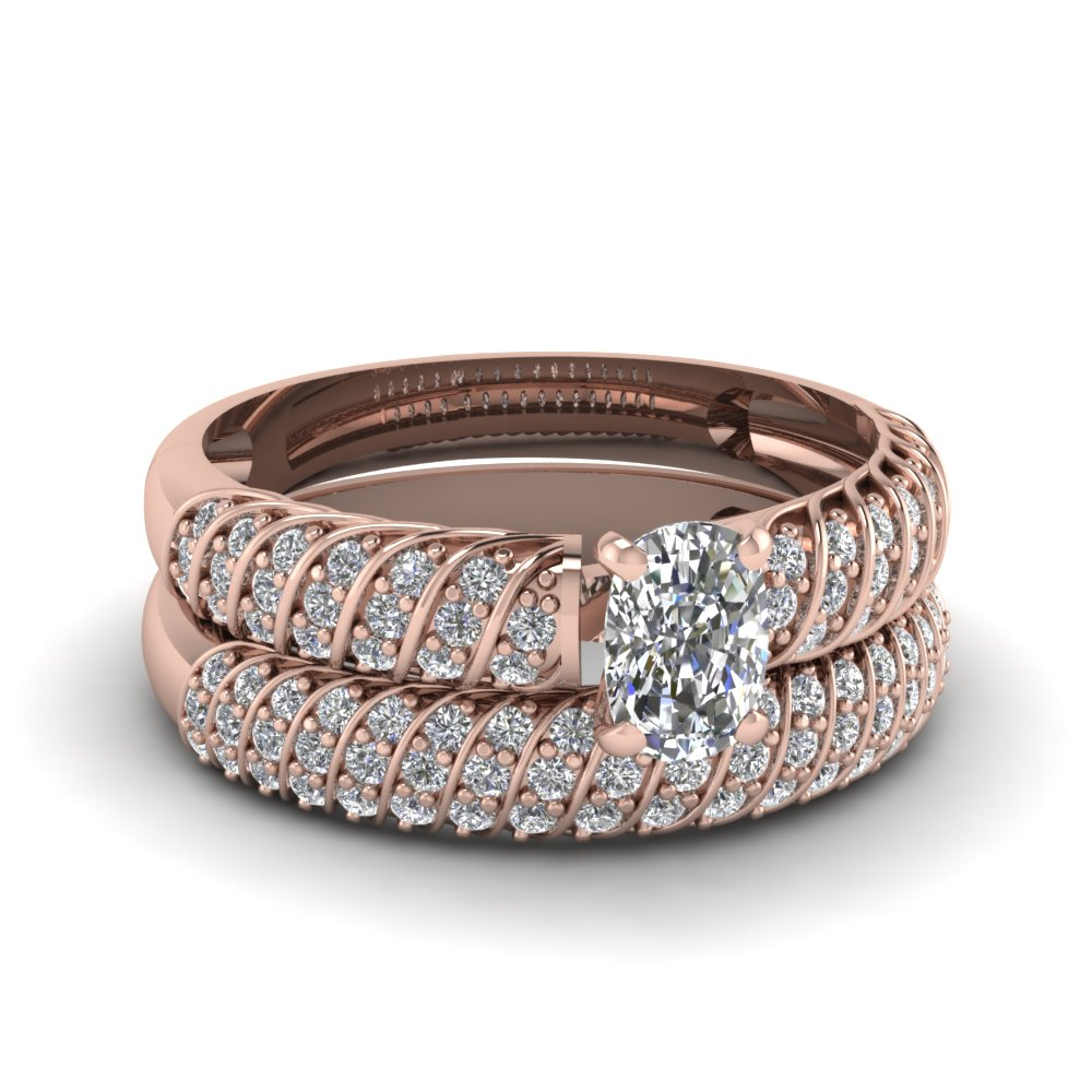 1.50 ct. cushion cut twisted accents diamond bridal ring sets in 14K rose gold FDENS3048CU NL RG 30