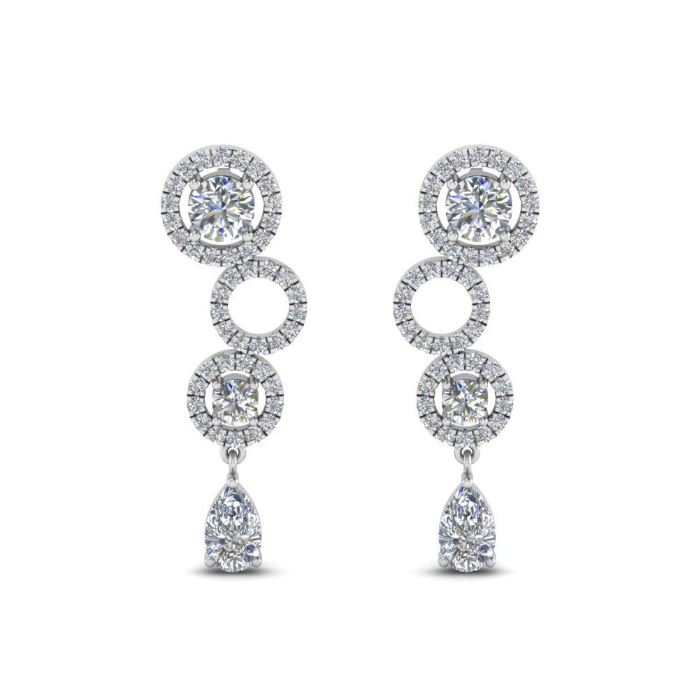 1.50 Ct. Halo Diamond Drop Earring