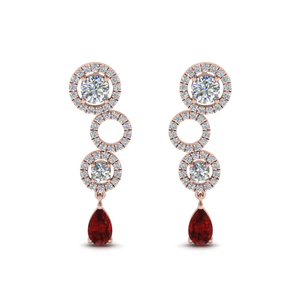 1.50 Ct. Ruby Circle Pear Drop Earring