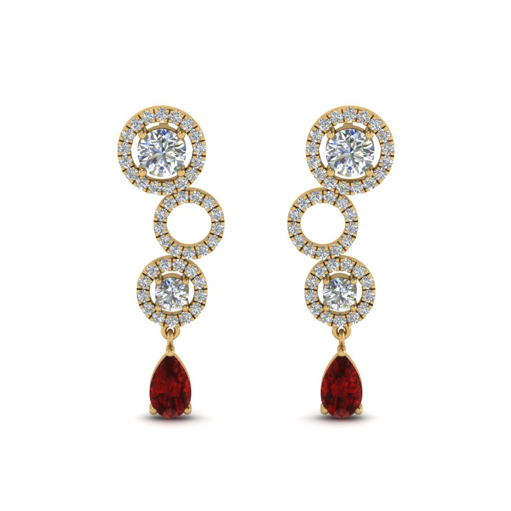 1.50-ct.-diamond-circle-pear-drop-earring-with-ruby-in-FDEAR8978GRUDRANGLE1-NL-YG