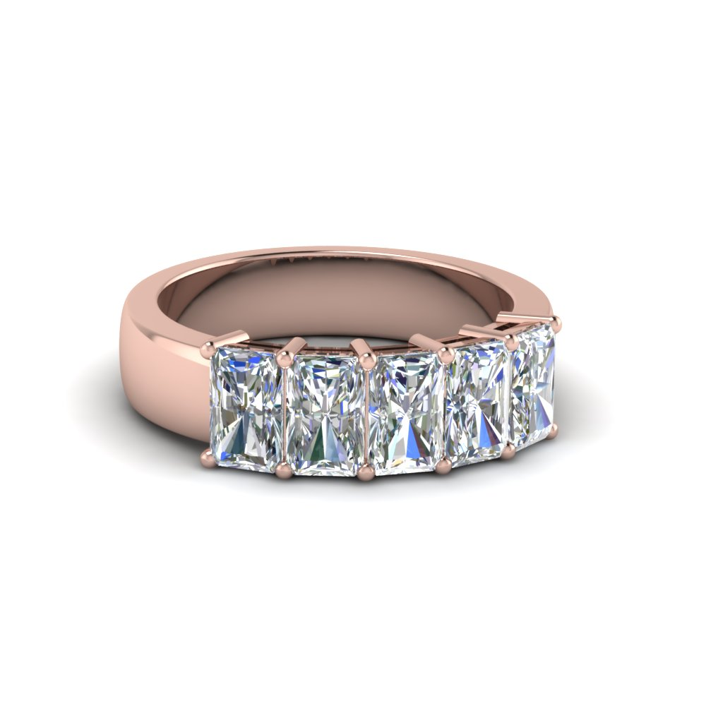1.50 ct. diamond radiant wedding band 5 stone in 14K rose gold FD8008RAB 1.5CT NL RG