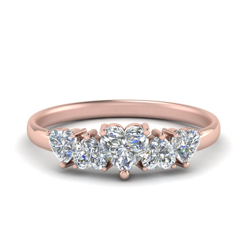 Five Heart Diamond Wedding Band