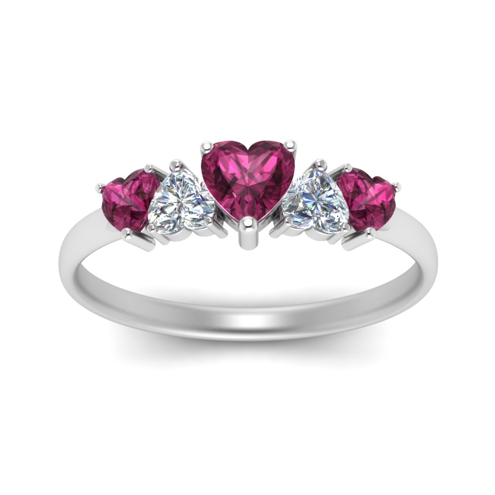 rings shape product heart twist wedding shank ring and with sapphire pink halo double