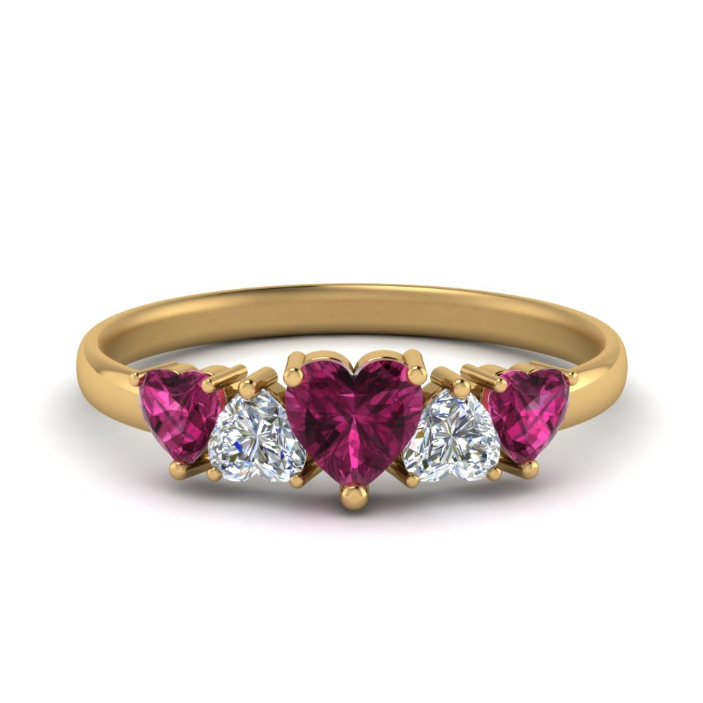 1.50-ct.-five-heart-diamond-wedding-band-with-pink-sapphire-in-FD8912GSADRPI-NL-YG