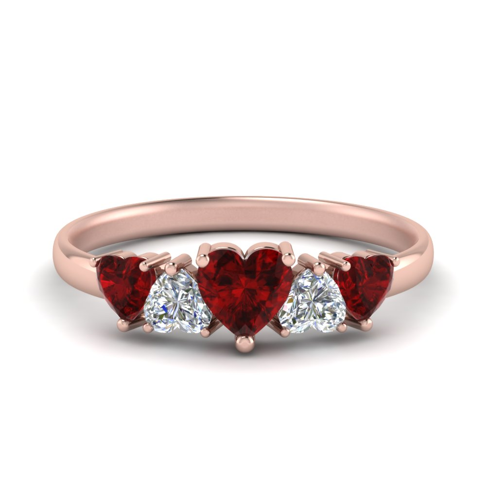 1.50 Ct. Five Heart Wedding Band