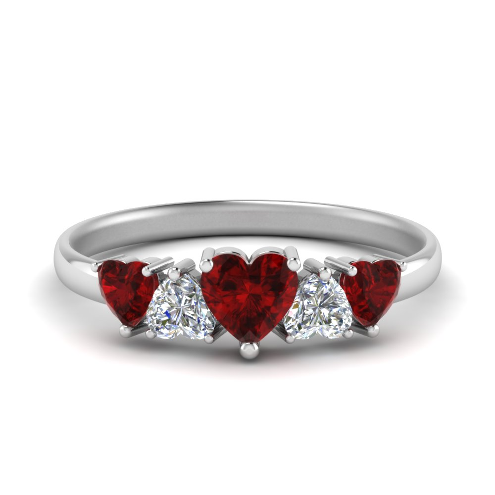 1.50 Ct. Five Heart Shaped Ruby Band