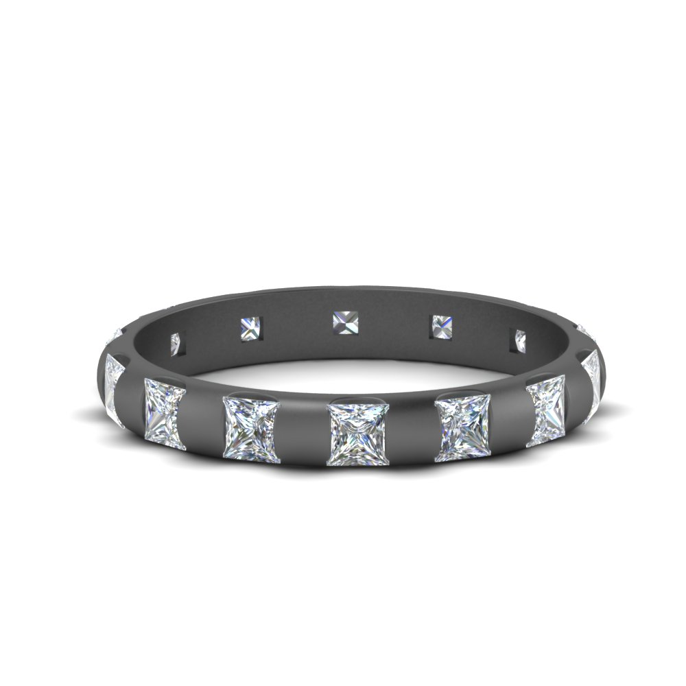 Princess Cut Bar Black Gold Band