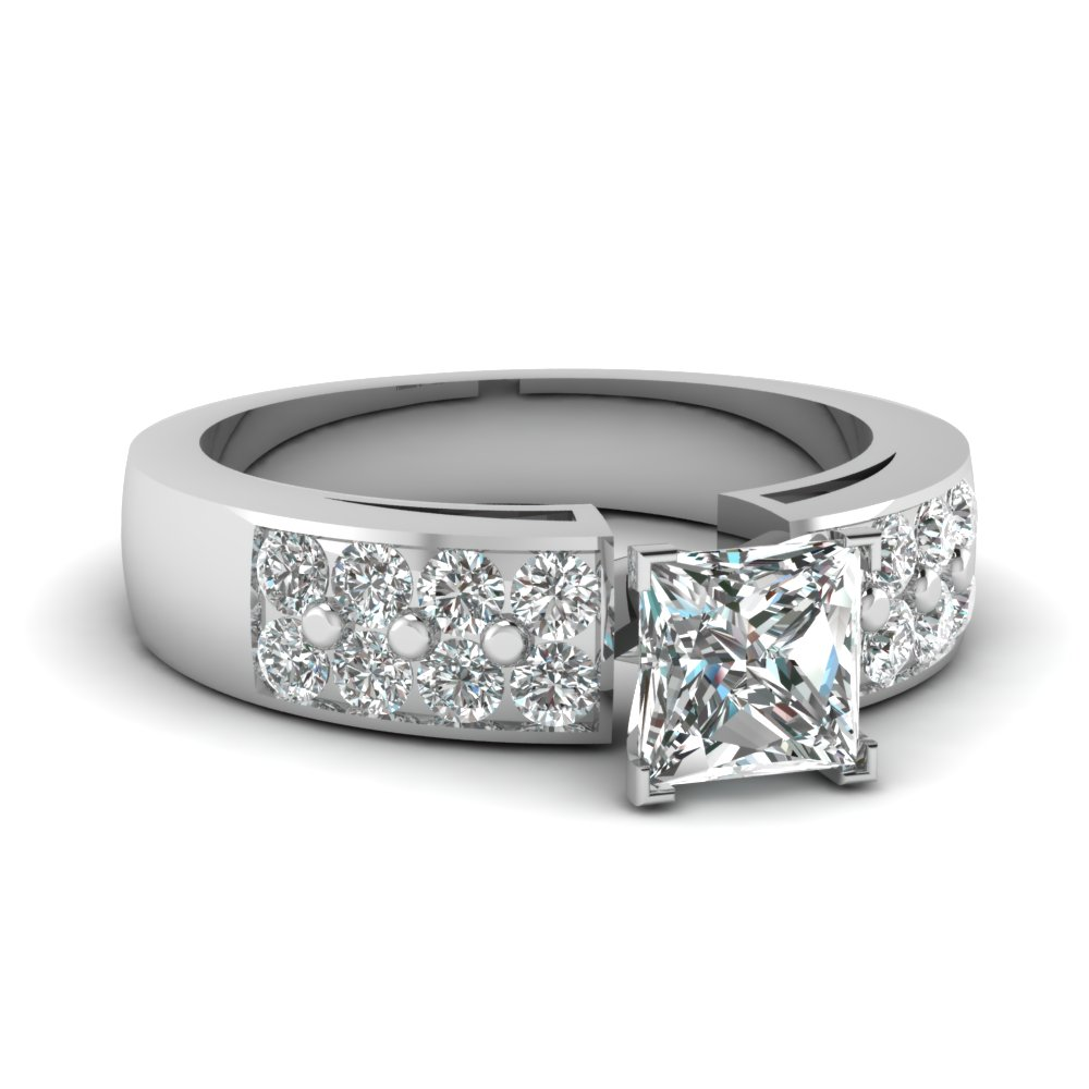 wedding shown princess cut carat a solitaire center with engagement band ring rings bands product wide diamond